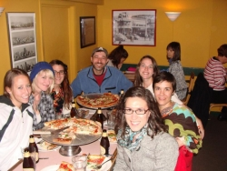 Theresa E., Laura E., Marie S., Will, Anna W., Allison W. and Emily M. enjoying some 'za at Uncle Vito's.